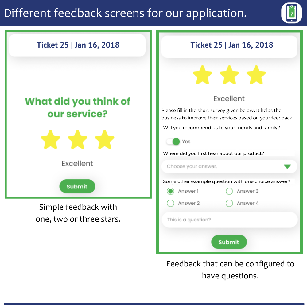 Feedback screens from our application ui prototype. Actual screens may differ based on the platform and actual UI design and implementation.